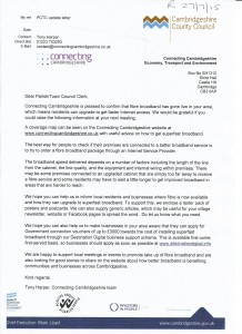 Superfast Broadband letter